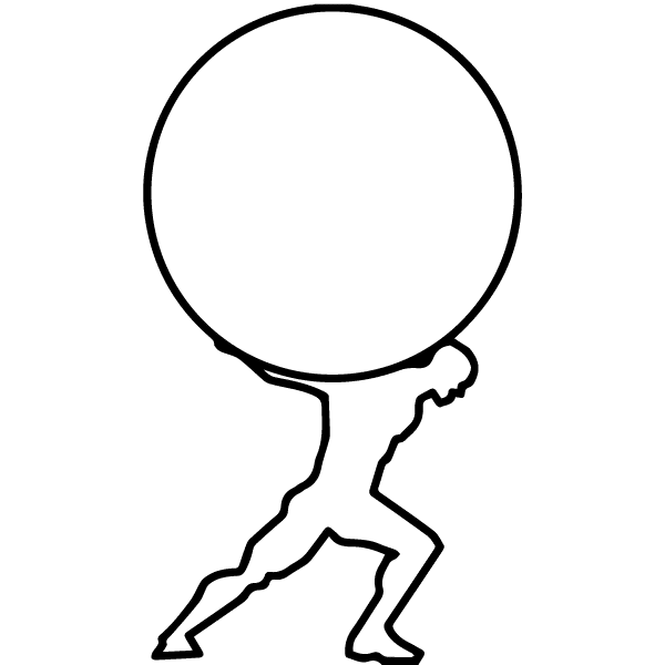 Line Drawing of Atlas the Titan who holds the world on his back as the logo for the ATLAS Product Spectrum Solutions offers