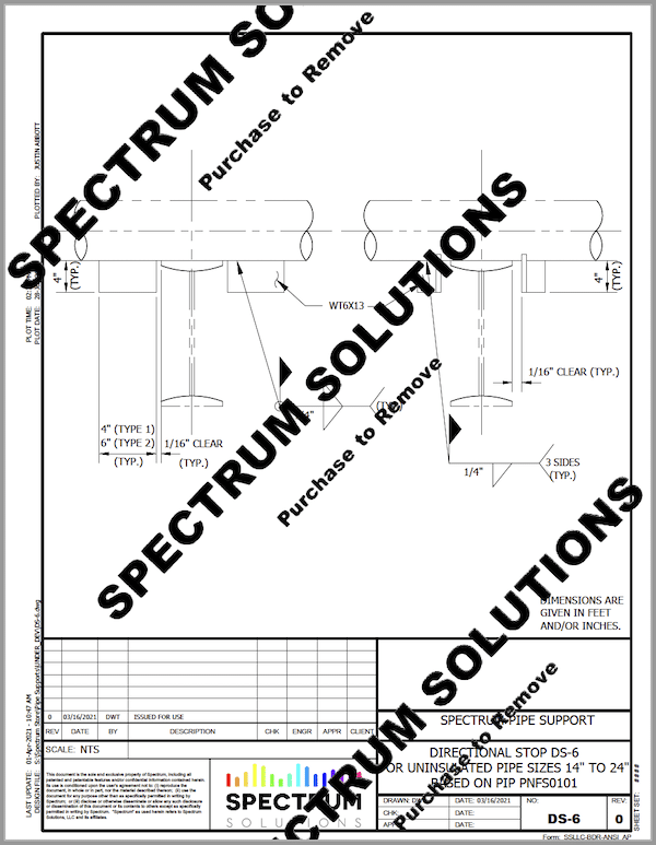 A detailed blueprint preview of a pipe support created by Spectrum Solutions with Watermark